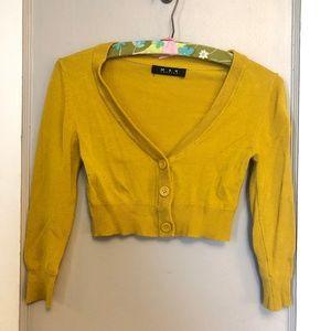 MAK Cropped Cardigan Mustard Gold Yellow